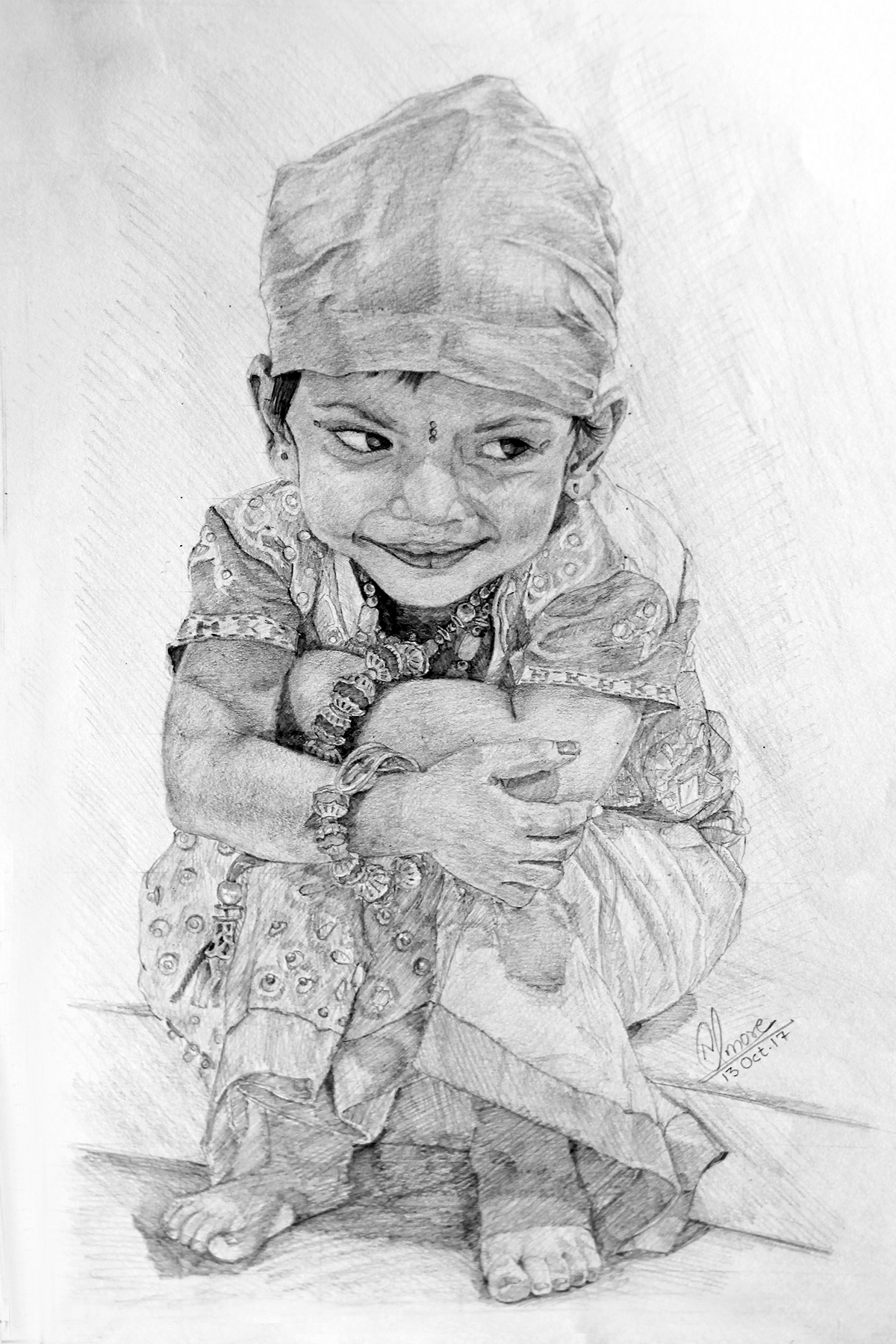 Baby smiling Sketch by Nitish More
