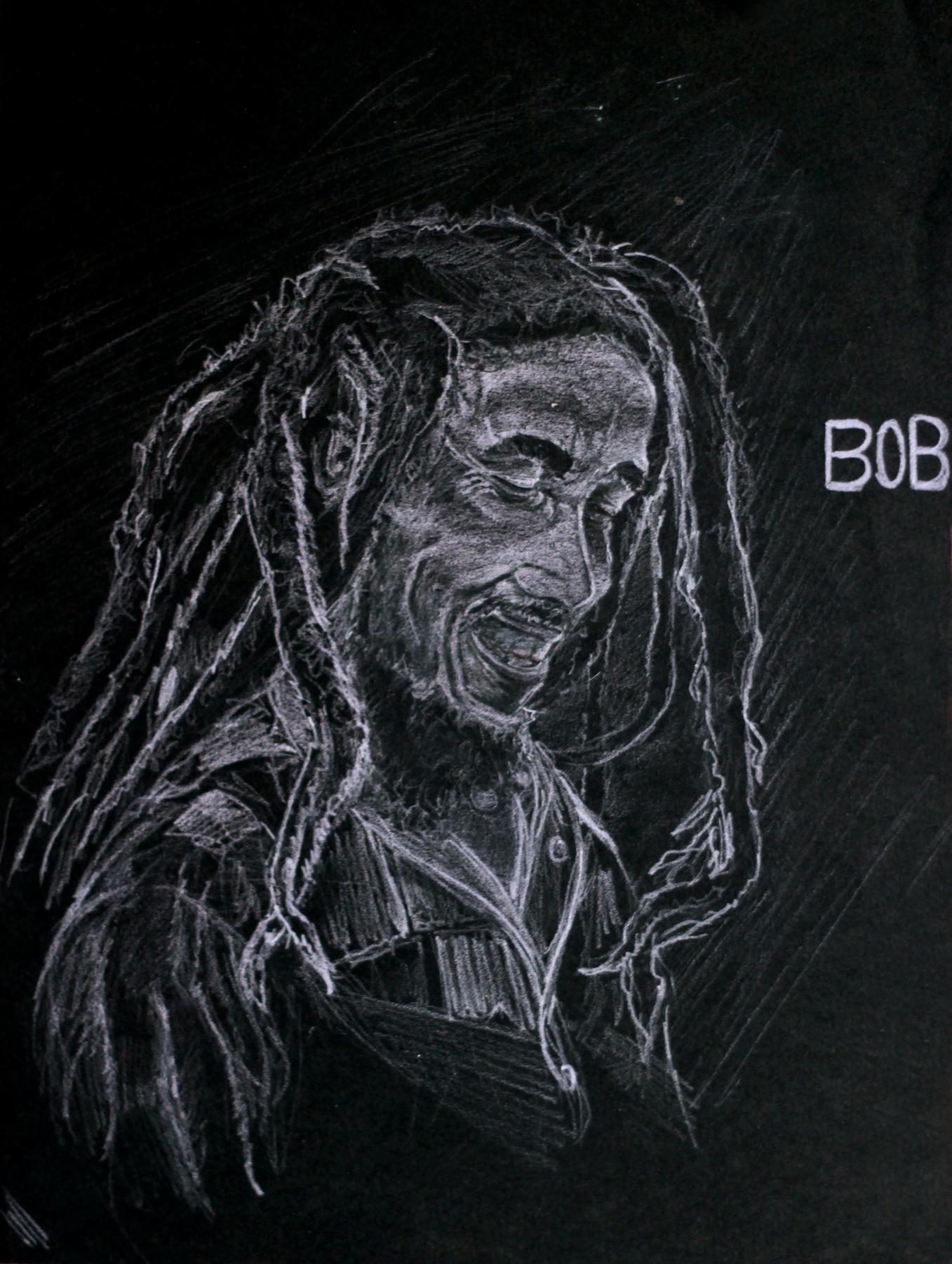 Bob Marley Chalk Sketch