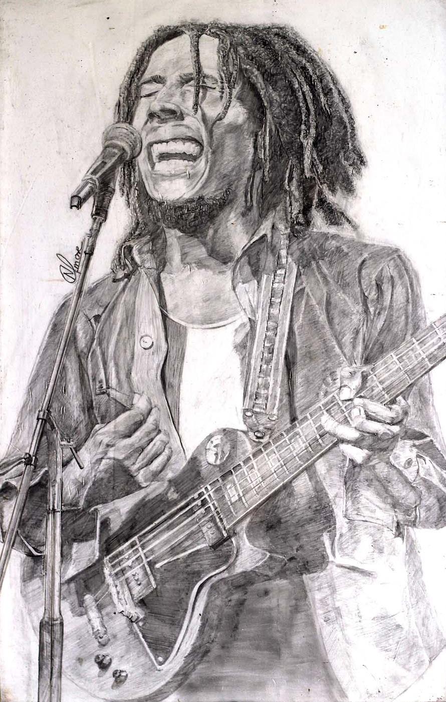 Bob Marley Singing Sketch by Nitish More