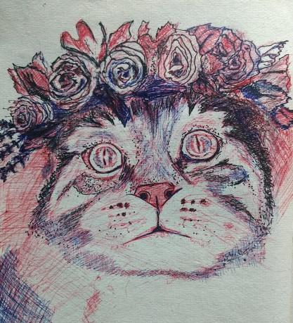 Cat Colour Sketch by Ankita Pisat