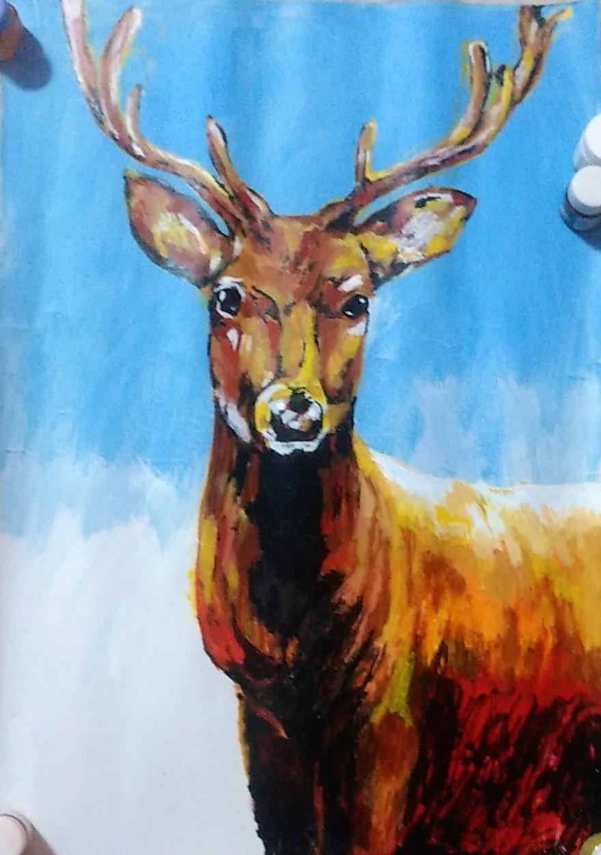 Deer Oil Painting by Ankita Pisat