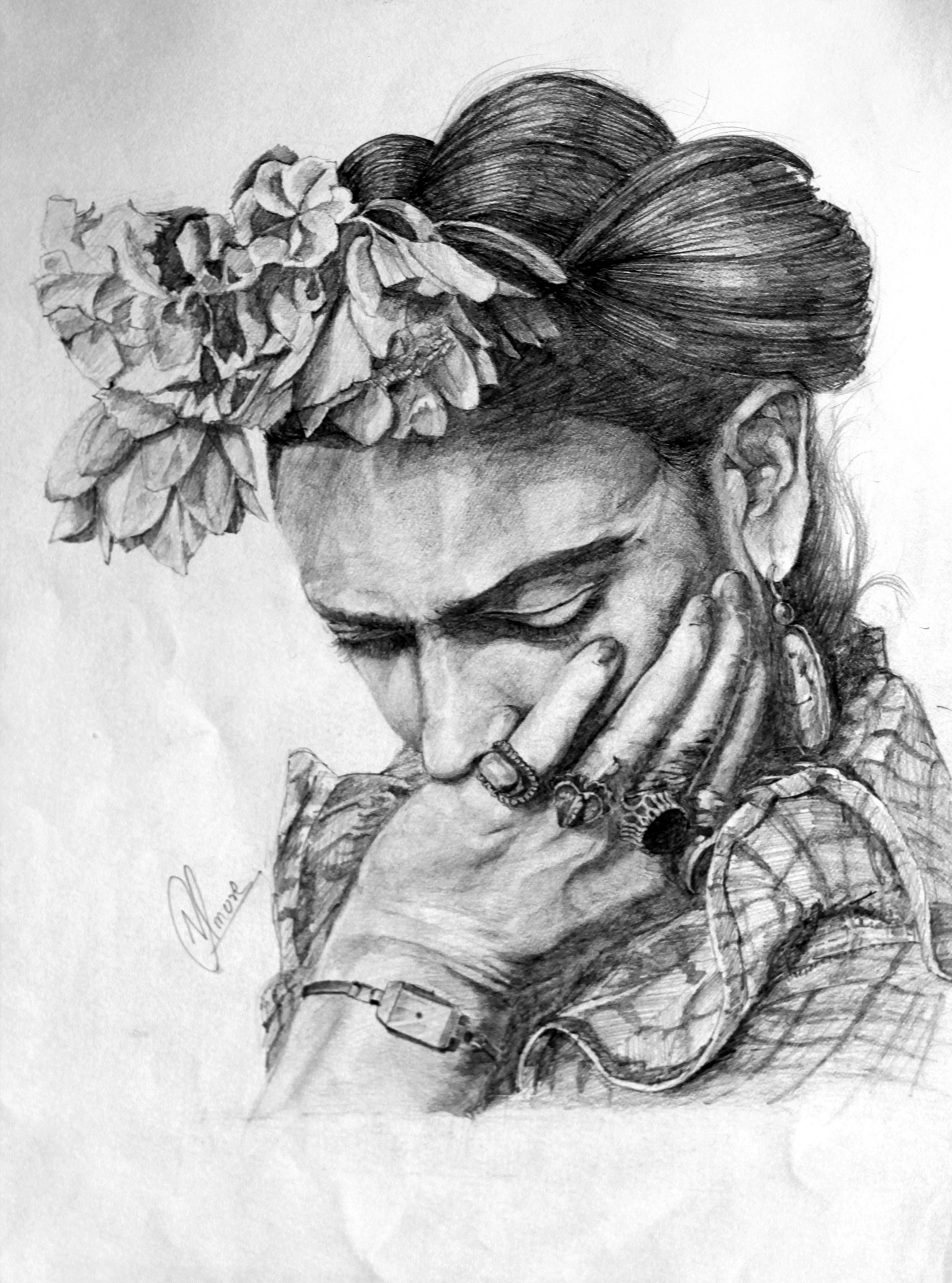 Woman Black and White Sketch by Nitish More